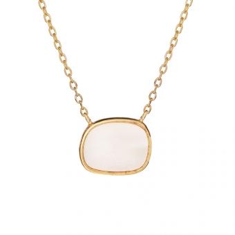 Naszyjnik MODERN srebrny pozłacany z masą perłową