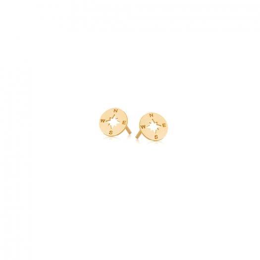 Kolczyki AZYMUT srebrne pozłacane z Różą Wiatrów