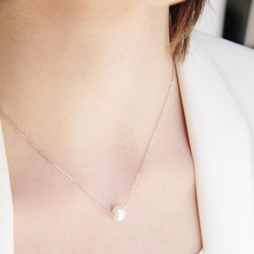 Naszyjnik ARIEL srebrny z naturalną perłą
