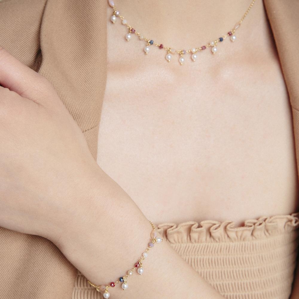 Bransoletka SUMMER srebrna pozłacana z koralikami i perłami