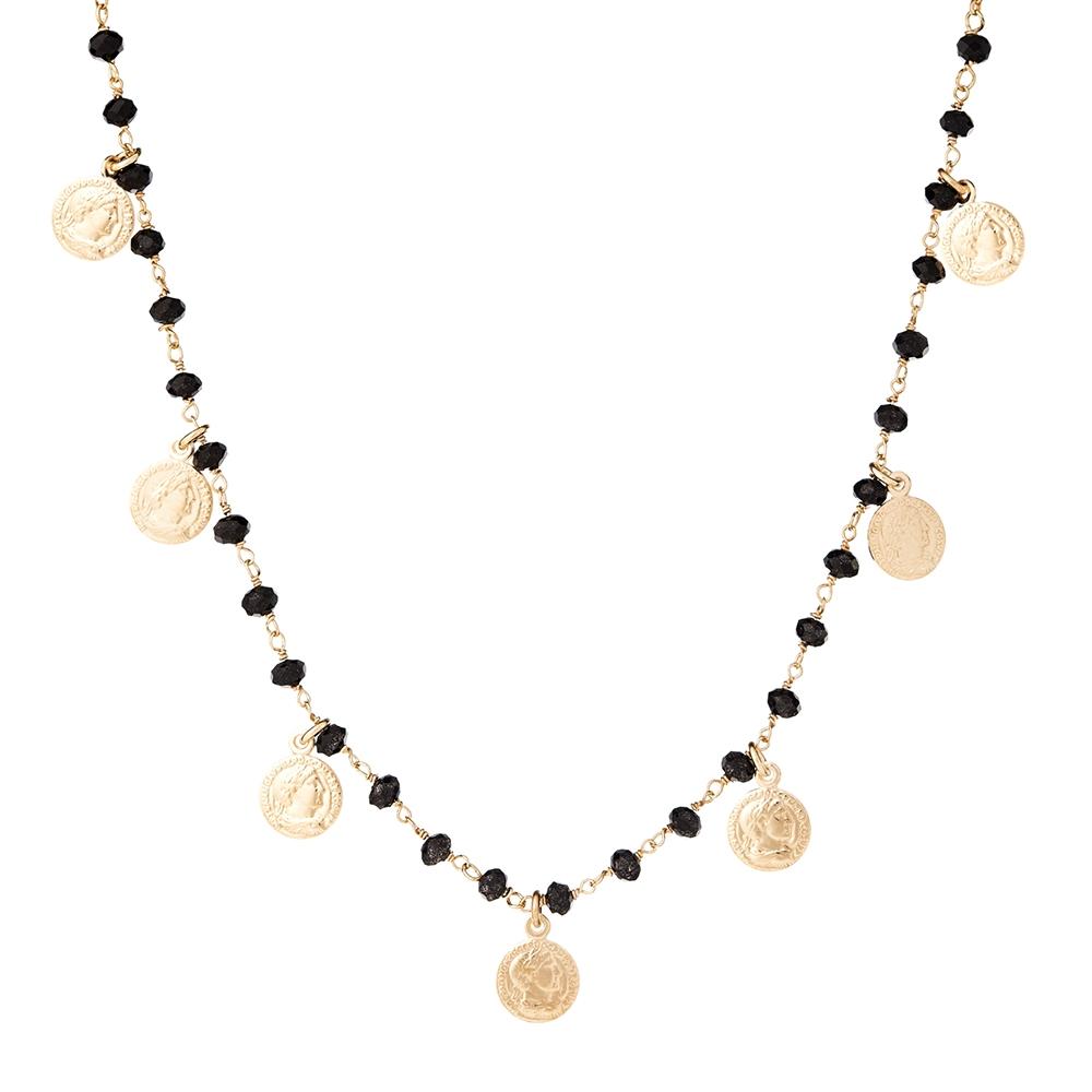 Naszyjnik SUMMER srebrny pozłacany z koralikami i monetami