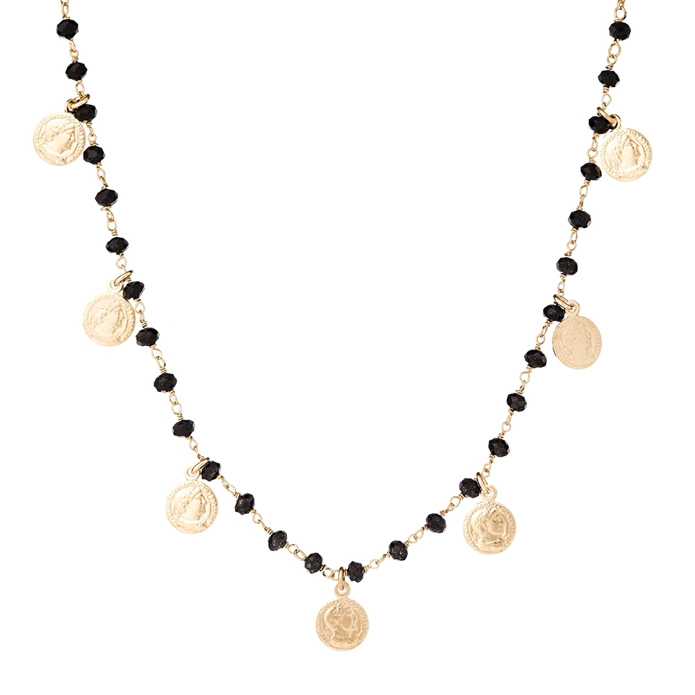 Naszyjnik SUNNY srebrny pozłacany z koralikami i monetami