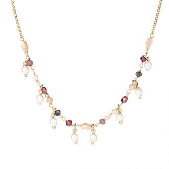 Naszyjnik SUNNY srebrny pozłacany z koralikami i perłami