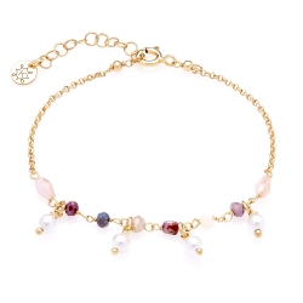 Bransoletka SUNNY srebrna pozłacana z koralikami i perłami