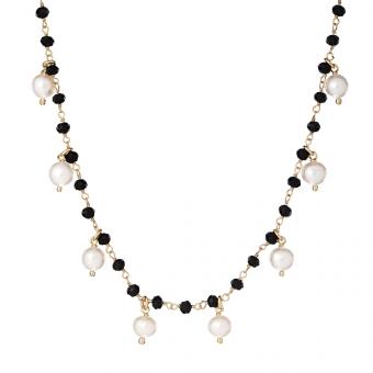 Naszyjnik SUMMER srebrny pozłacany z naturalnymi perłami