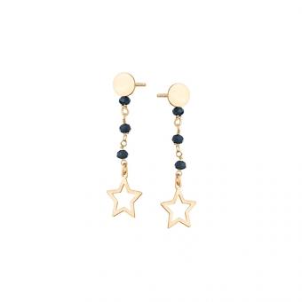 Kolczyki SUNNY srebrne pozlacane z gwiazdą