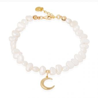 Bransoletka WILD z naturalnymi perłami i księżycem