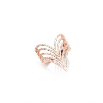 Pierścionek MONA srebrny pozłacany na różowo