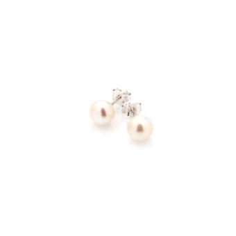 Kolczyki CLASSY srebrne z naturalną perłą