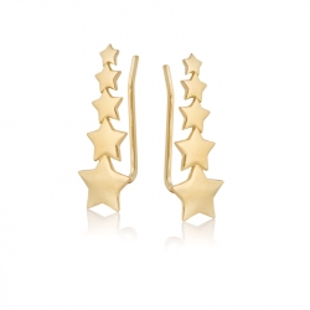 Nausznice LOCO STAR srebrne pozłacane z gwiazdkami