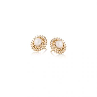 Kolczyki GLAMOUR srebrne pozłacane z cyrkoniami i perłą