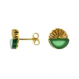Kolczyki DUO srebrne pozłacane z zielonym agatem