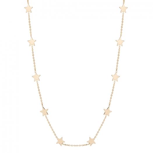 Choker LOCO STAR srebrny pozłacany z gwiazdkami