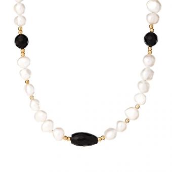 Naszyjnik ARIEL z naturalnymi perłami i onyksem