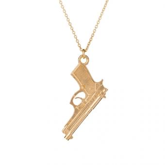 Naszyjnik TRENDY srebrny pozłacany z pistoletem