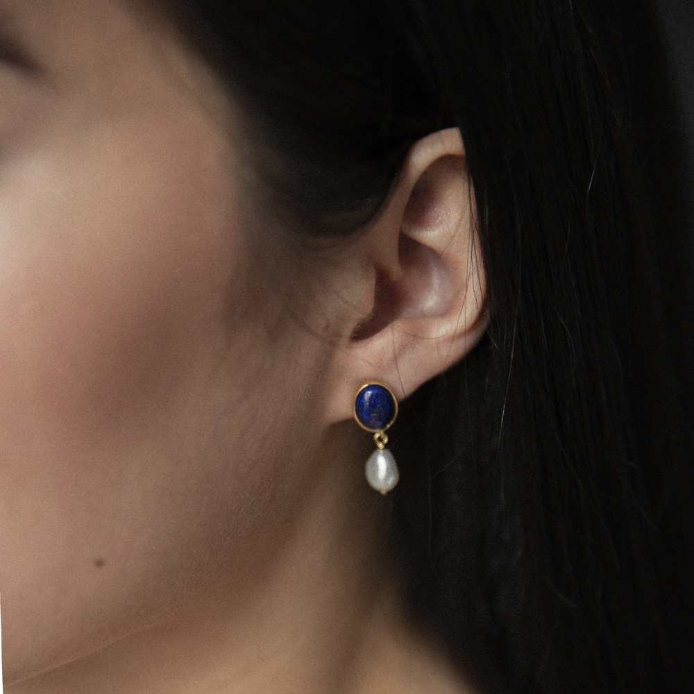 Kolczyki VINTAGE srebrne pozłacane z lapisem i naturalnymi perłami