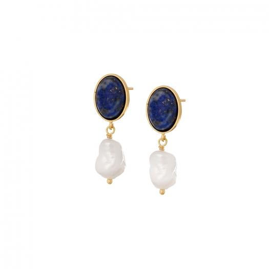 Kolczyki VINTAGE srebrne pozłacane z lapisem i naturalną perłą
