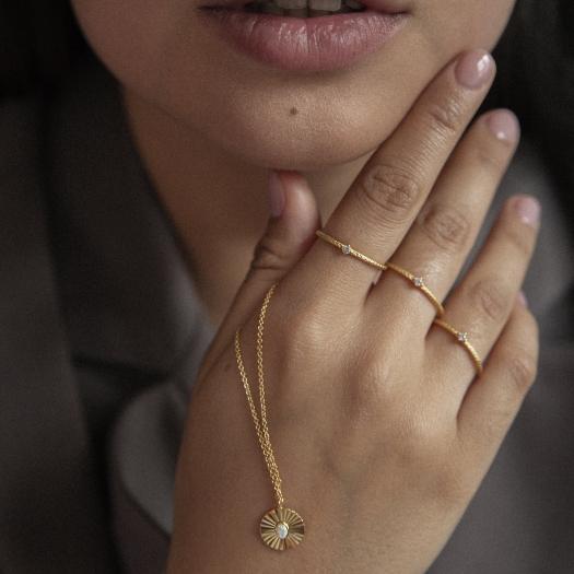 Pierścionek VINTAGE srebrny pozłacany z cyrkonią
