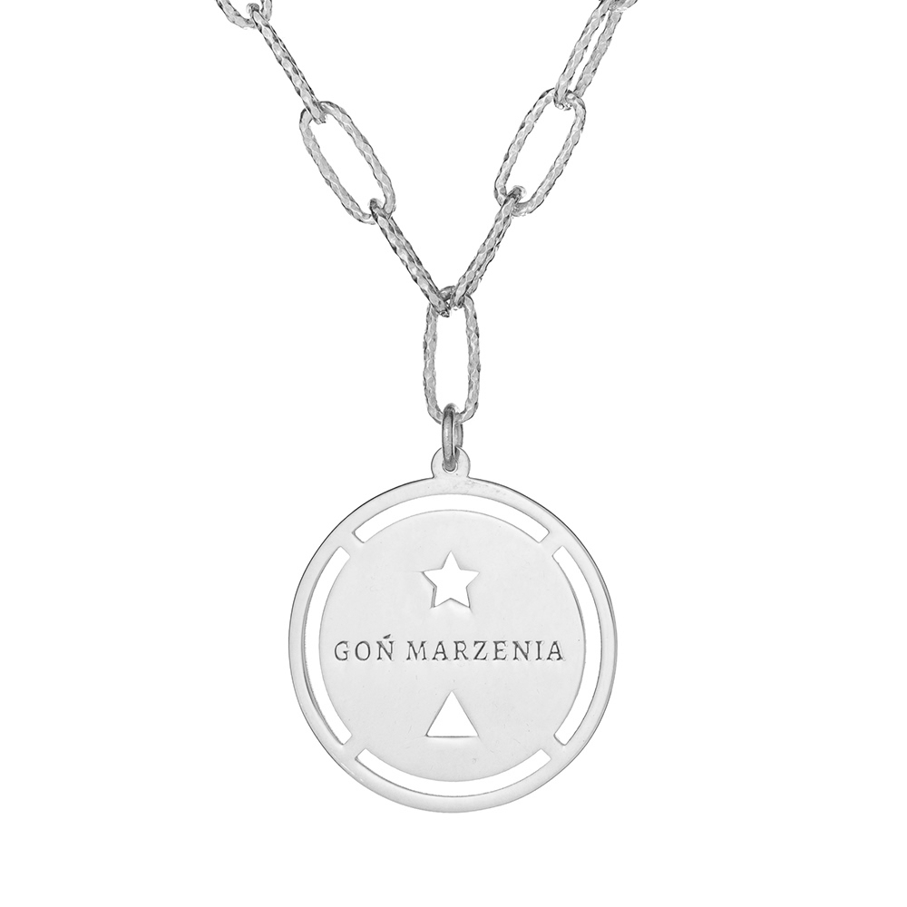 Długi naszyjnik AMULET srebrny z napisem