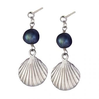 Kolczyki ARIEL srebrne z perłą i muszelką