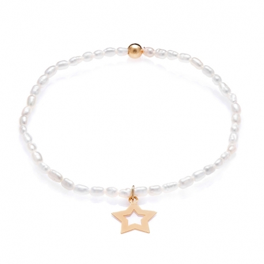 Bransoletka DOLCE VITA złota z perłami i gwiazdą