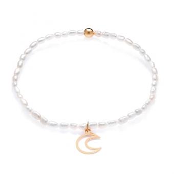 Bransoletka DOLCE VITA złota z perłami i księżycem