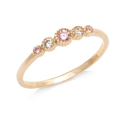 Pierścionek ROYAL złoty z białymi i różowymi cyrkoniami