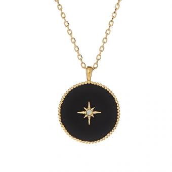 Naszyjnik ASTRO srebrny pozłacany z opalem i emalią