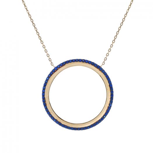 Naszyjnik ROYAL złoty z niebieskimi cyrkoniami