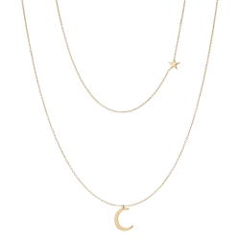 Podwójny naszyjnik SOFT złoty z księżycem i gwiazdką