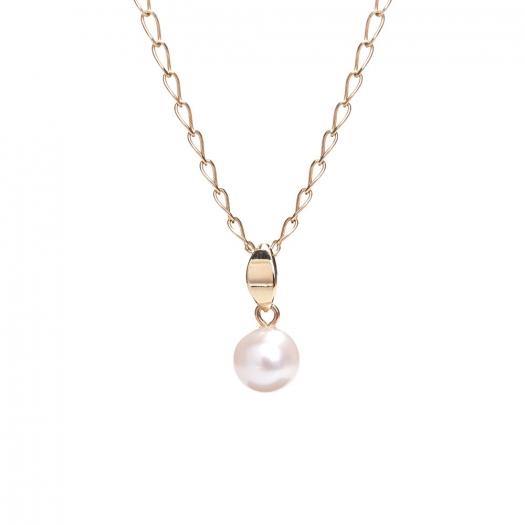 Wisiorek MINI złoty z białą perłą