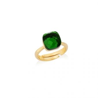 Pierścionek VENUS srebrny pozłacany z zielonym kryształem