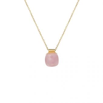 Naszynik VENUS srebrny pozłacany z różowym kryształem