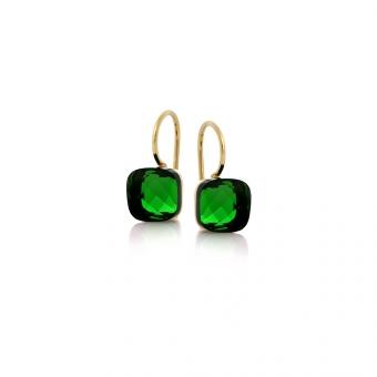 Kolczyki VENUS srebrne pozłacane z zielonym kryształem