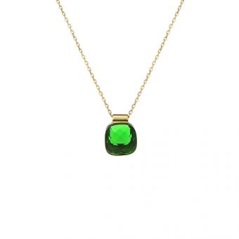 Naszynik VENUS srebrny pozłacany z zielonym kryształem