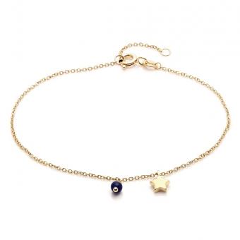 Bransoletka DOLCE VITA złota z lapisem lazuli i gwiazdką