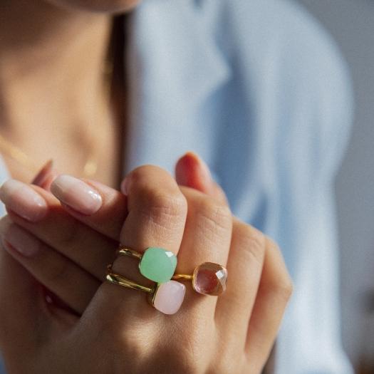 Pierścionek VENUS srebrny pozłacany z miętowym kryształem