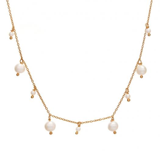 Choker ARIEL srebrny pozłacany z perłami