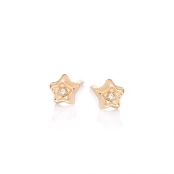 Kolczyki DIAMONDS złote 585 z brylantem i gwiazdką