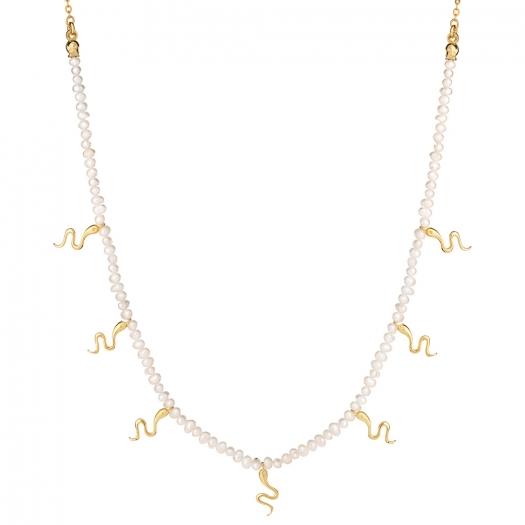 Naszyjnik VINTAGE srebrny pozłacany z naturalnych pereł i wężami