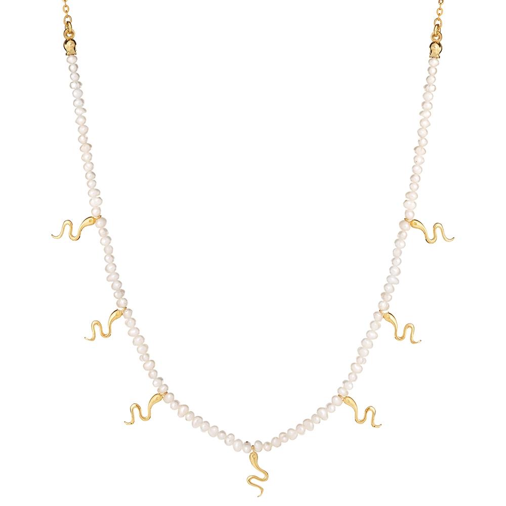 Choker VINTAGE srebrny pozłacany z naturalnych pereł i wężami