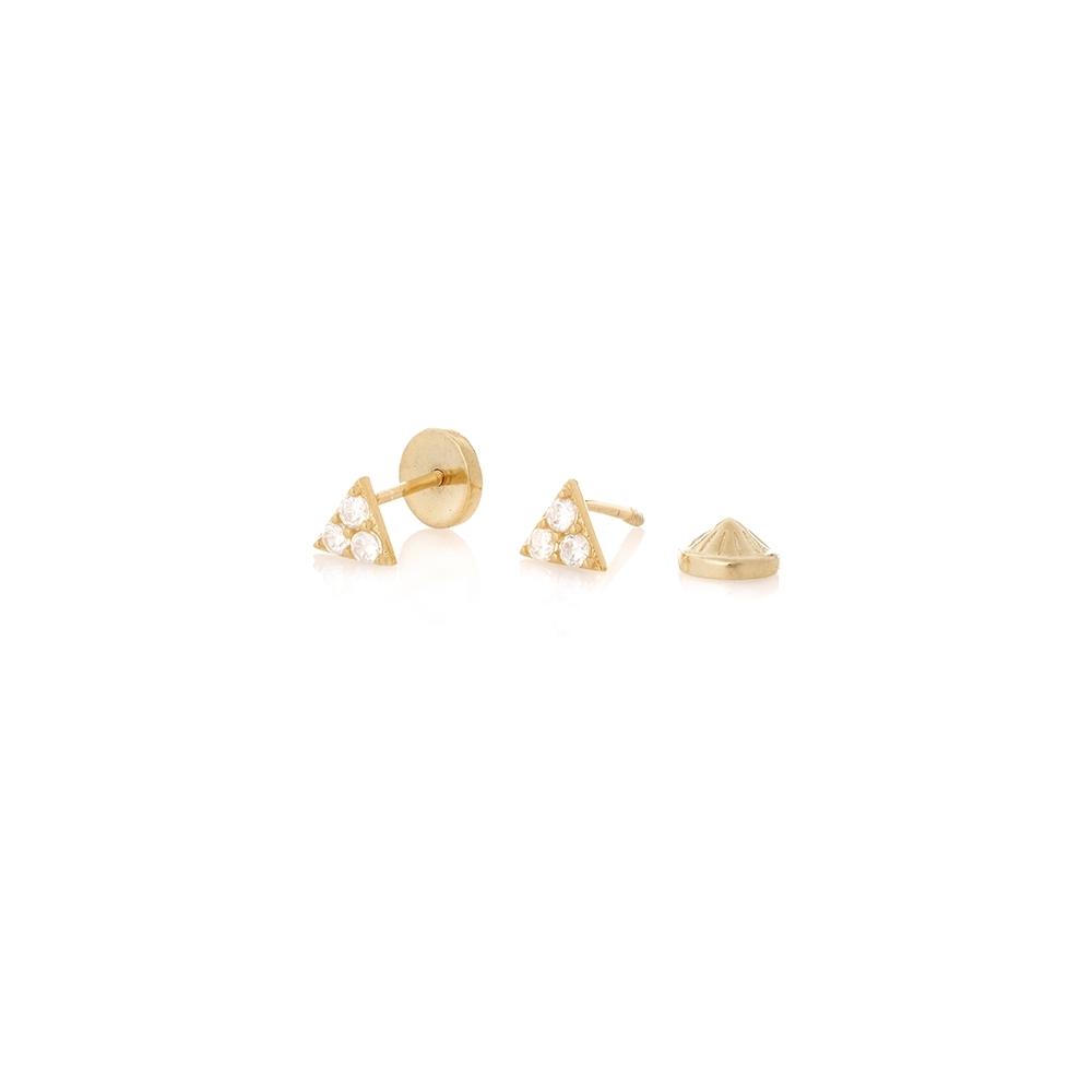Kolczyki ROCK IT srebrne pozłacane dwustronne z trójkątami