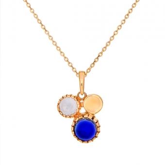 Wisiorek DOLCE VITA złoty z niebieskim i białym kwarce