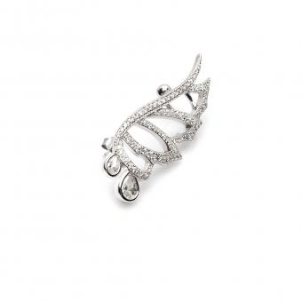 nausznica GLAMOUR srebrne ze skrzydłem i cyrkoniami