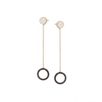 Kolczyki ROYAL złote z masą perłową i cyrkoniami