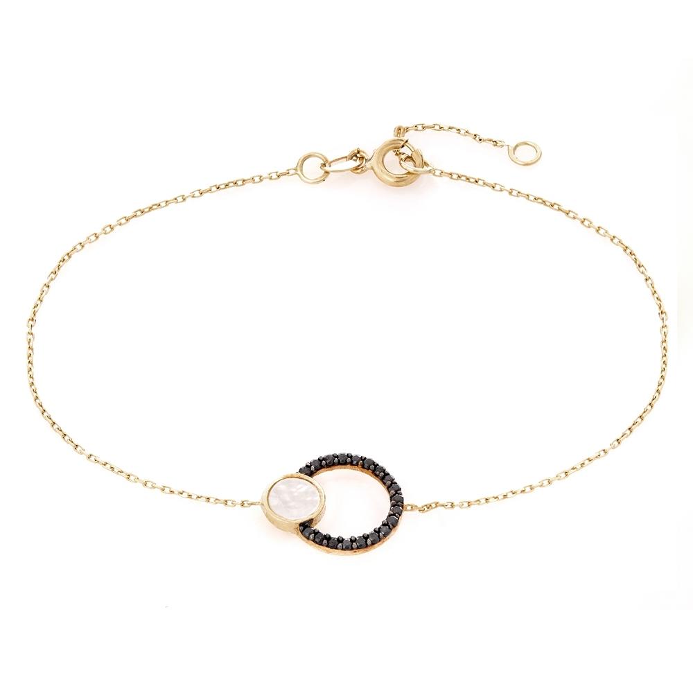 Bransoletka ROYAL złota z masą perłową i cyrkoniami