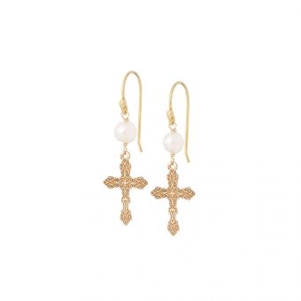 Kolczyki TRENDY srebrne pozłacane z krzyżykami i perłami