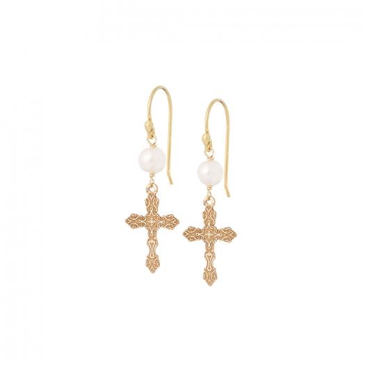 Kolczyki URBAN CHIC srebrne pozłacane z krzyżykiem i perłą