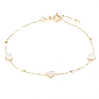 Bransoletka GLOW złota z masą perłową i serduszkiem
