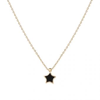 Naszyjnik ROYAL złoty z onyksem i gwiazdką